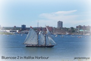 Photo of the Bluenose II in Halifax Harbour, Nova Scotia